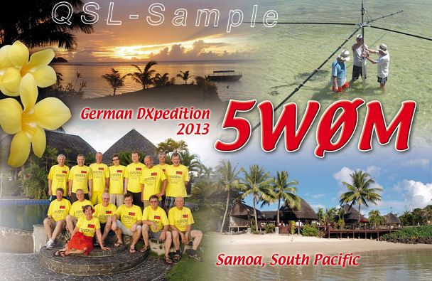 QSL-Karte der 5W0M Samoa Expedition